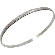 Sterling Silver Milor Bangle Bracelet with Incised Chevron Design