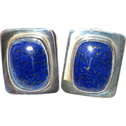 Large Mexican Silver Modernist Earrings with Lapis Lazuli