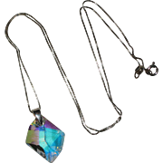 Swarovski Iridescent Crystal Prism Pendant with Sterling Bail and Chain