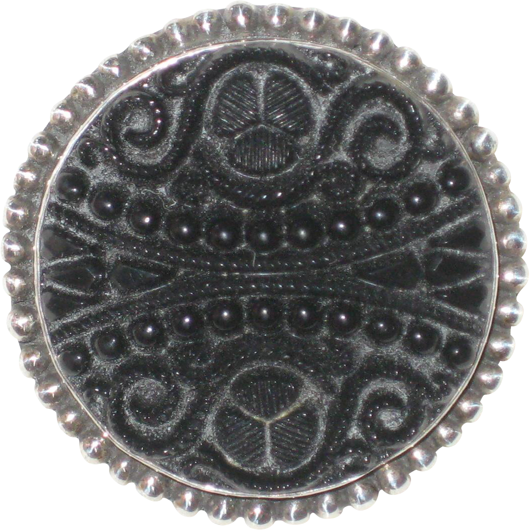 Victorian Carved Jet Button Set in Sterling Silver - Brooch or Pendant