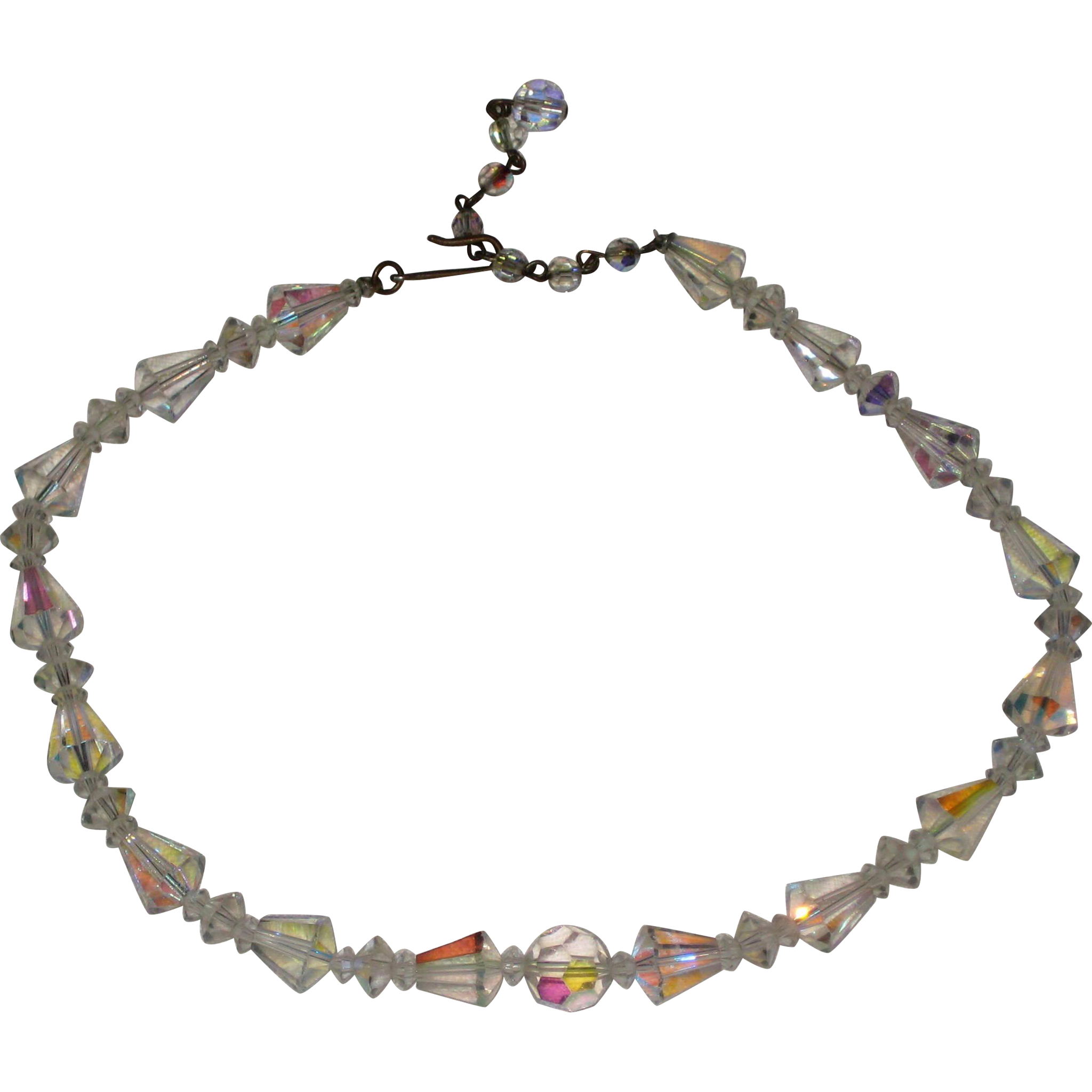 1950's Aurora Borealis Crystal Necklace with Cone Shaped Beads