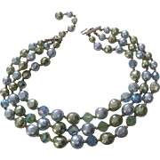 1950's Three Strand Necklace with Aurora Borealis and Blue and Green Pearlized Beads