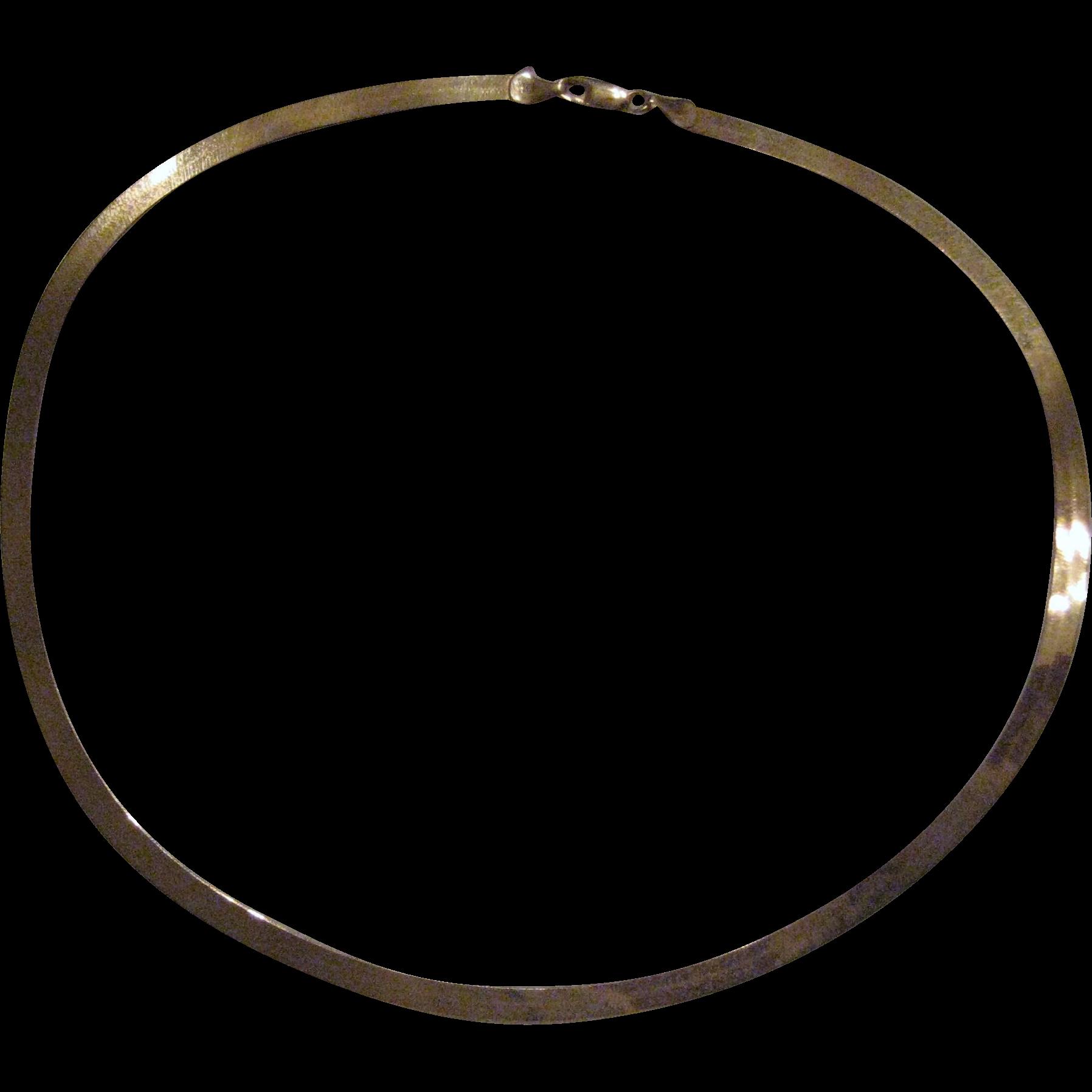 "14K Yellow Gold Aurafin Mirror Flex Herringbone Necklace - 18 1.2"" - 9 Grams"