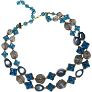 1950's Two Strand Blue Bead Necklace - Western West Germany