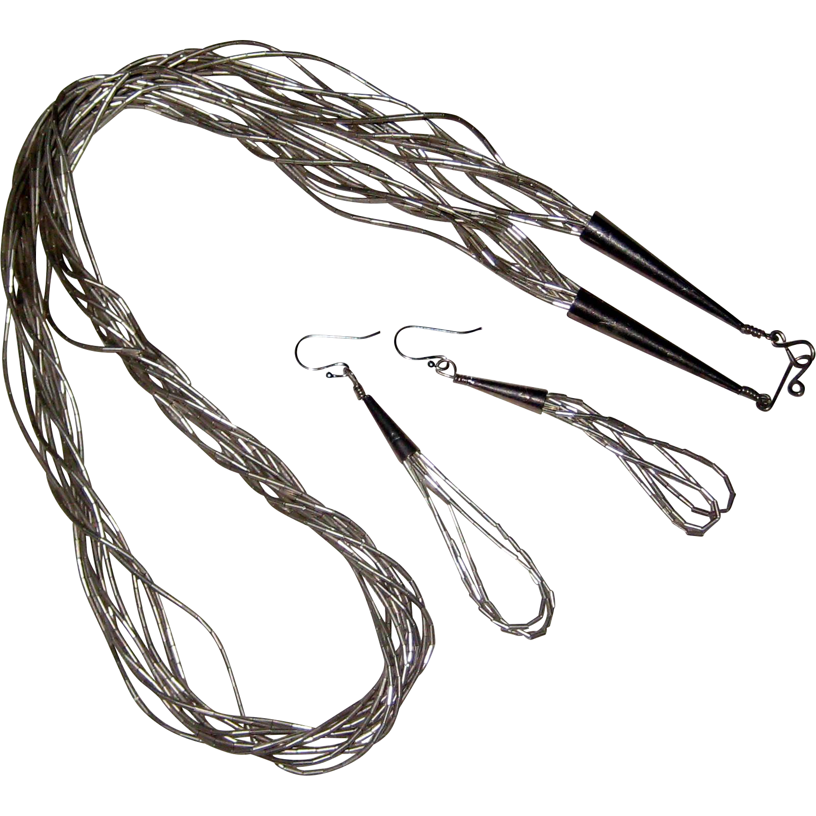 """Southwester Liquid Silver 26"""" 10 Strand Necklace with Matching Earrings - 47.4 Grams"""