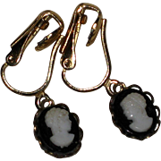 Petite 1940's Hard Plastic Black and White Cameo Earrings - Clip or Pierced