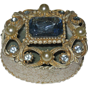 Ornate Florenza Trinket Box with Large Blue Stone