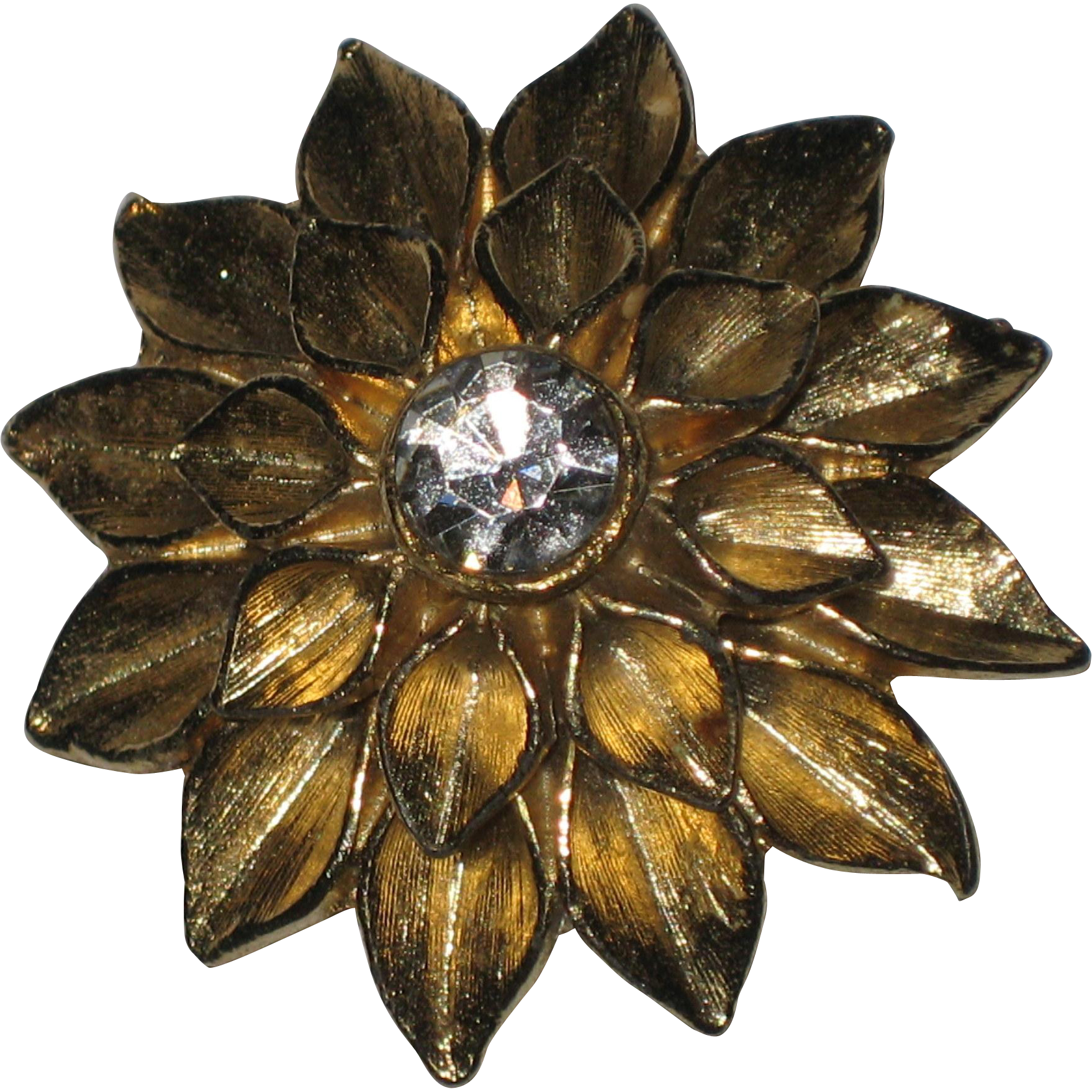 Gold-tone Dahlia Sunburst Flower Brooch