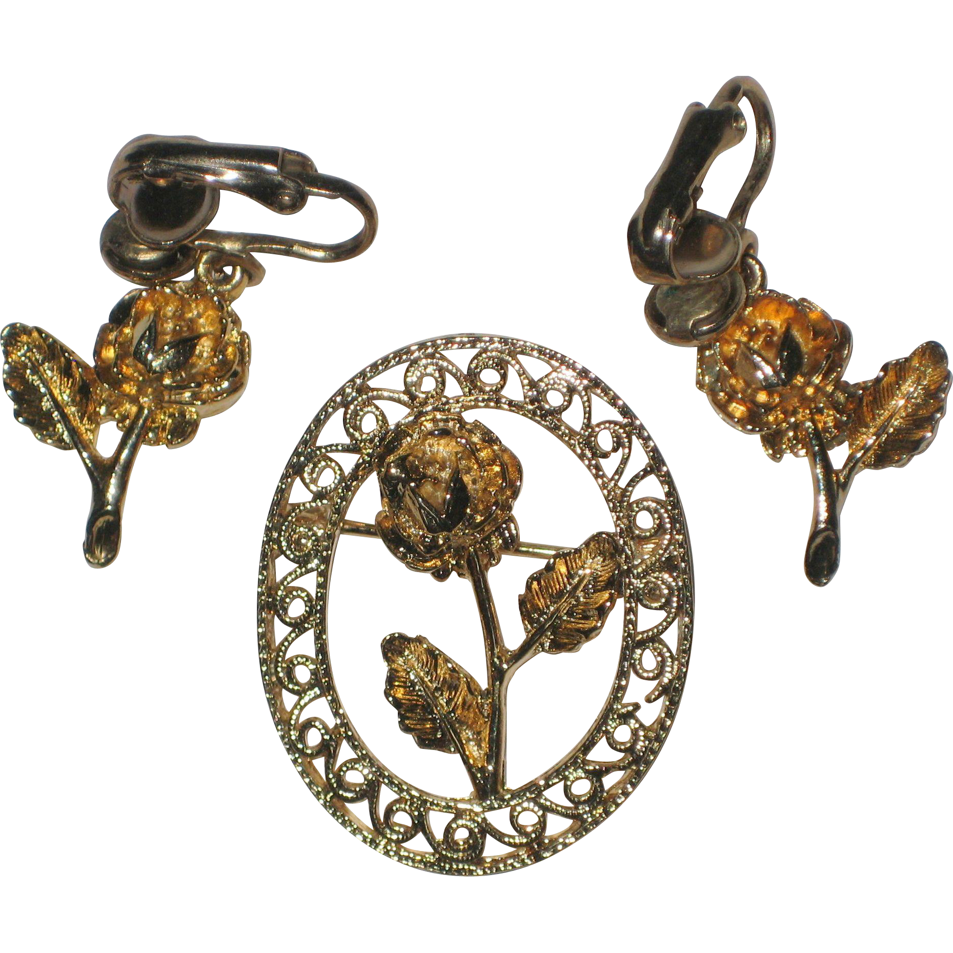 Gold-tone Dimensional Rose Brooch and Earring Set Circa 1975
