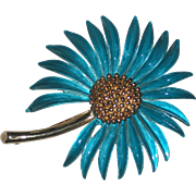 Pastelli Signed Big Blue Daisy Flower Pin - 1960's