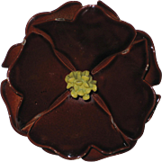 Dark Chocolate Brown 1960's Enamel Flower Corsage Pin