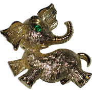 Gold-tone Happy Elephant Pin with Green Rhinestone Eye