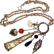 Gold-tone Necklace with Large Charms