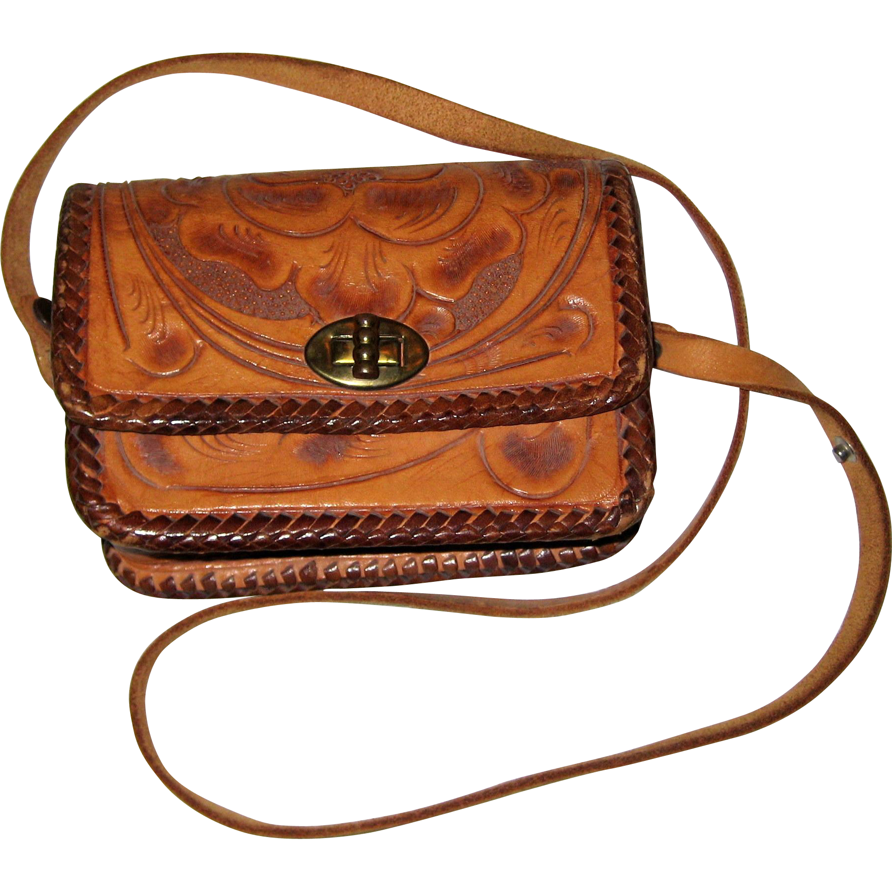 Child Sized Hand Tooled Leather Vintage Purse