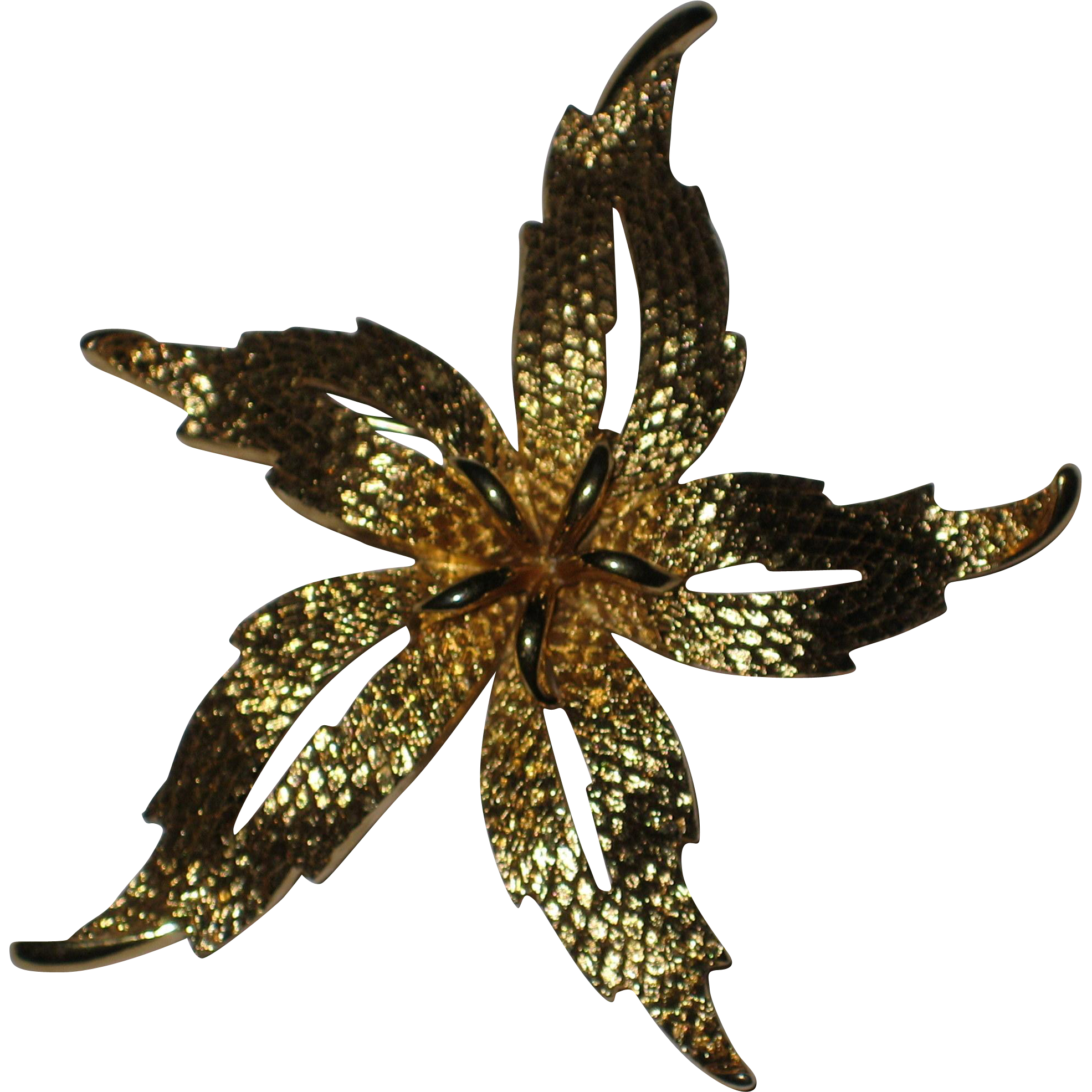 Gold-Tone Star Flower Pin - Signed Monet