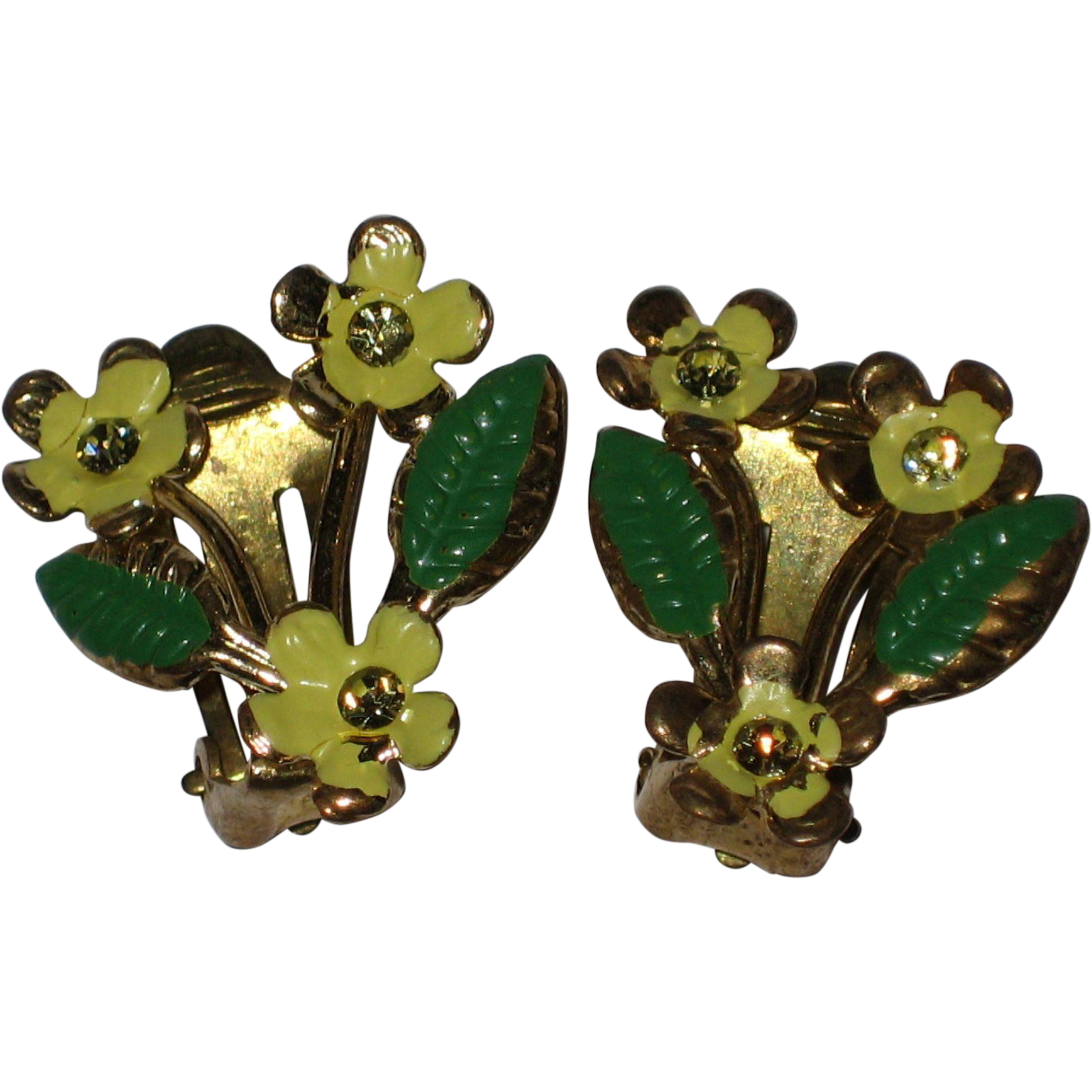 1940's Yellow Flower Clip Earrings with Rhinestone Centers - Austria