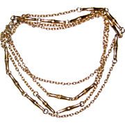 """Crown Trifari Extra Long 54"""" Gold-tone Bamboo Chain Necklace 1950's"""