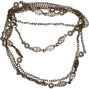 "50"" Gold-Tone Chain Necklace with Faux Pearls"