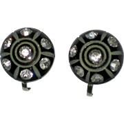 Carved Black Thermoset Screw-back Earrings with Sparkling Rhinestones 1940's