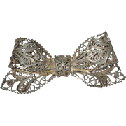 800 Silver Filigree Bow Pin