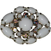 Milk Glass and Aurora Borealis Rhinestone Pin
