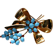1950's Signed Coro Sterling Vermeil Bow Brooch with Turquoise Blue Glass Stones