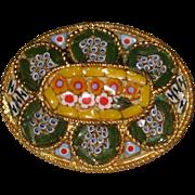 1960's Italian Micro Mosaic Pin - Green and Yellow