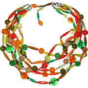 1940's -1950's Plastic Necklace in Carnival Colors