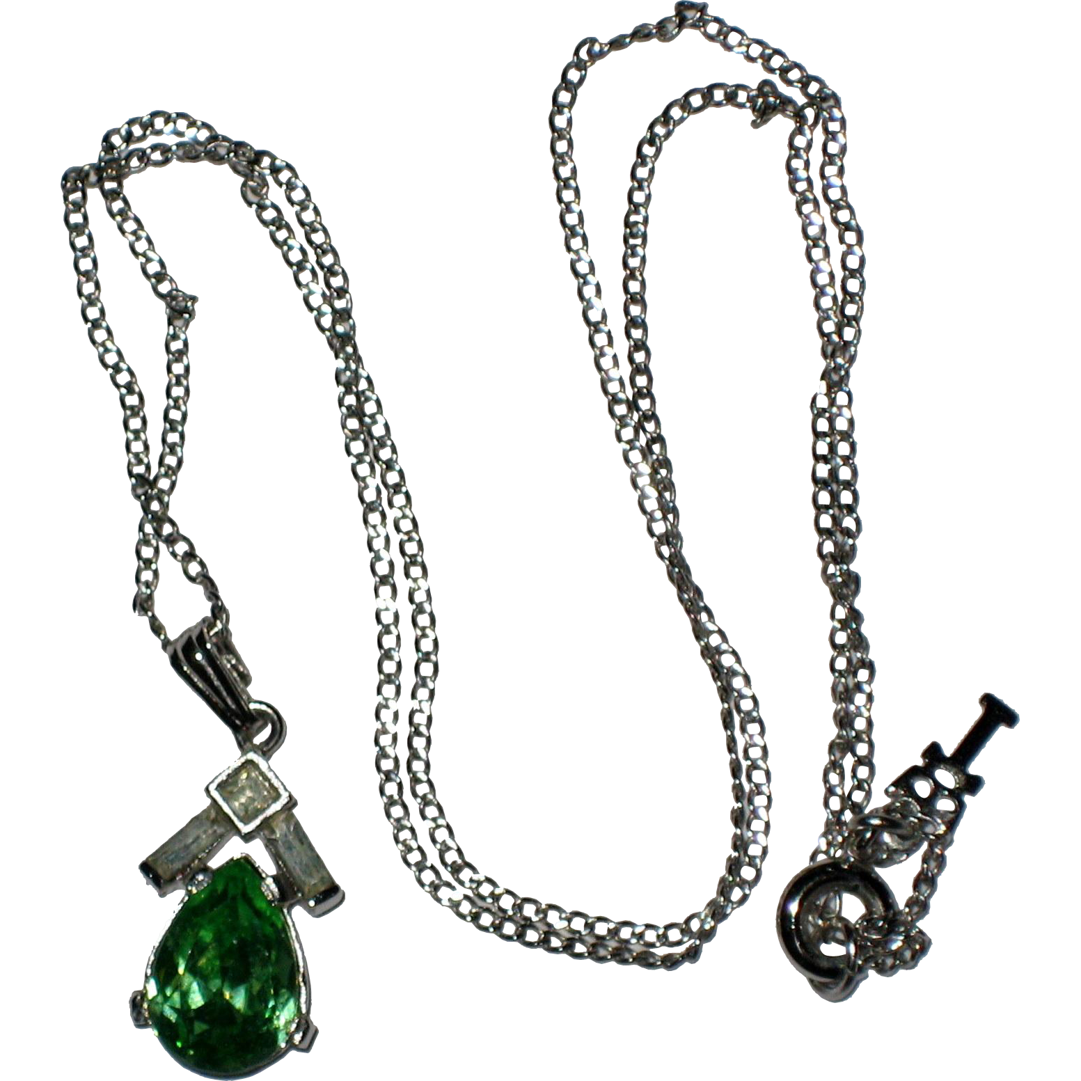 Crown Trifari Faux Emerald Petite Necklace Pendant