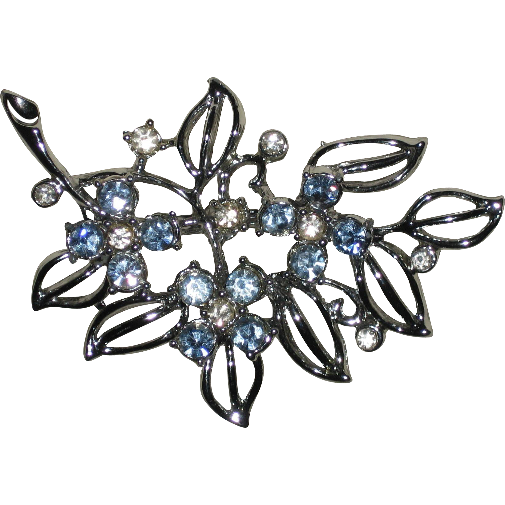 Silver-tone Pin with Blue and White Rhinestones