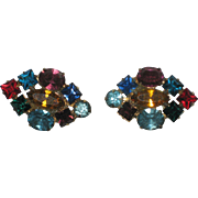 Large Colorful Screw-back Rhinestone Earrings