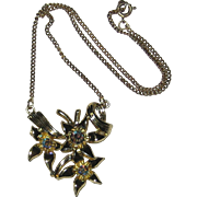 1940's S & G Fifth Avenue Floral Necklace with Aurora Borealis Stones