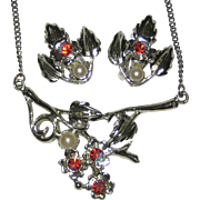 S & G Fifth Avenue Silver-tone Red Aurora Stone Necklace and Matching Clip Earrings