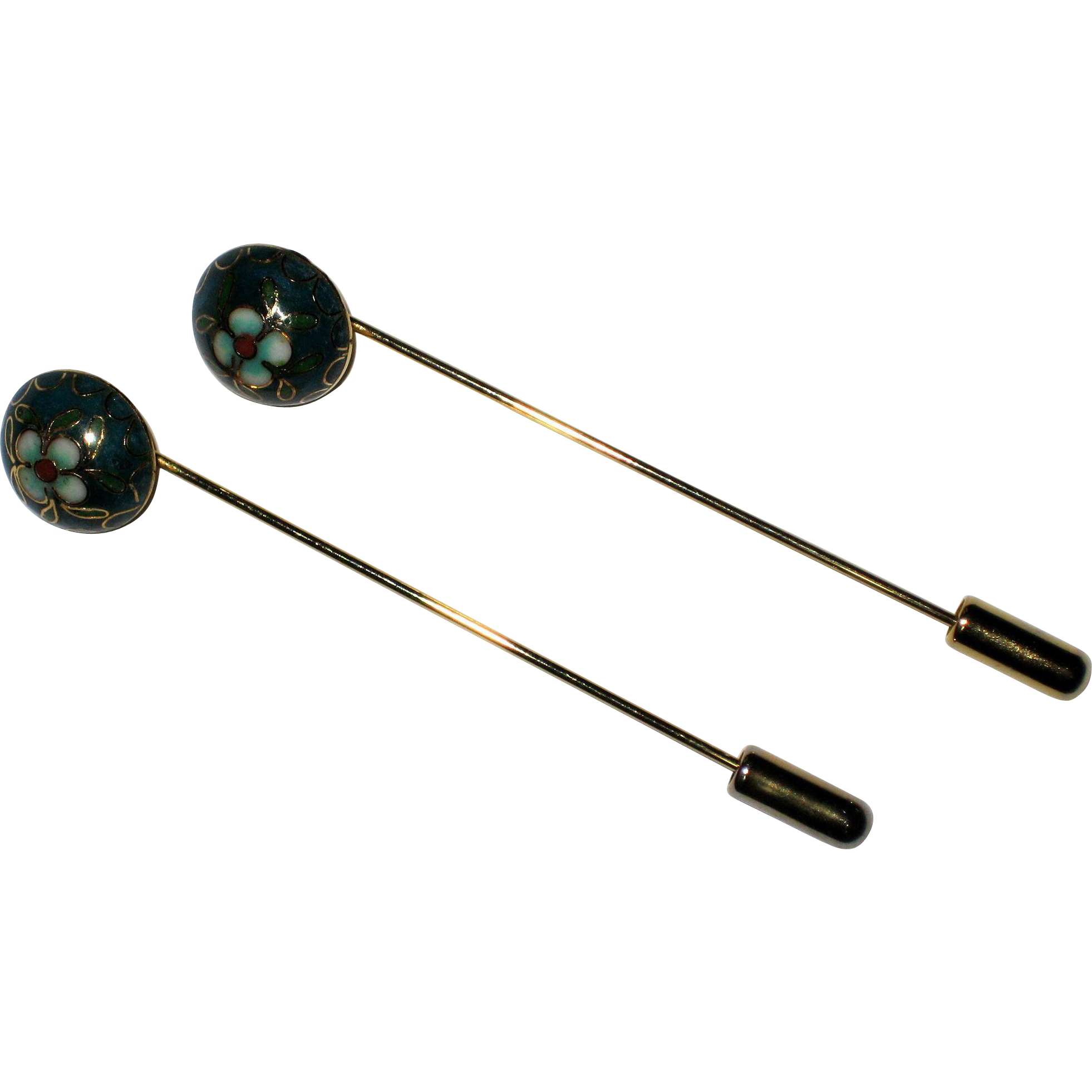 Pair of Green Cloisonne Stick Pins with Flowers