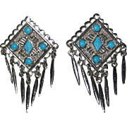 Native American-Inspired Faux Turquoise Clip Earrings