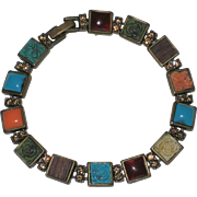 Liz Claiborne Signed Multi-colored Tile Bracelet