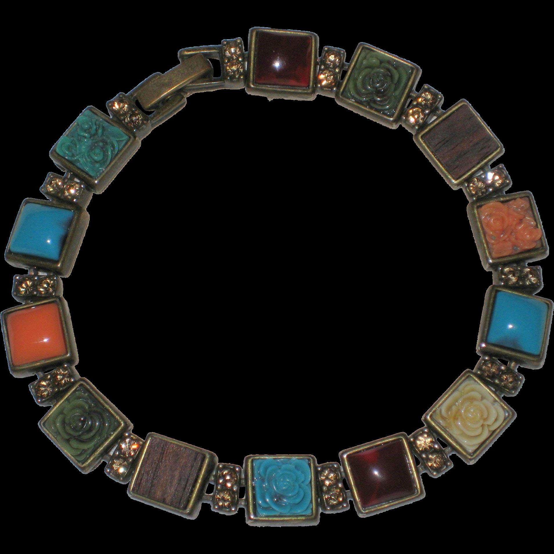 Liz Claiborne Signed Multi-colored Tile Bracelet
