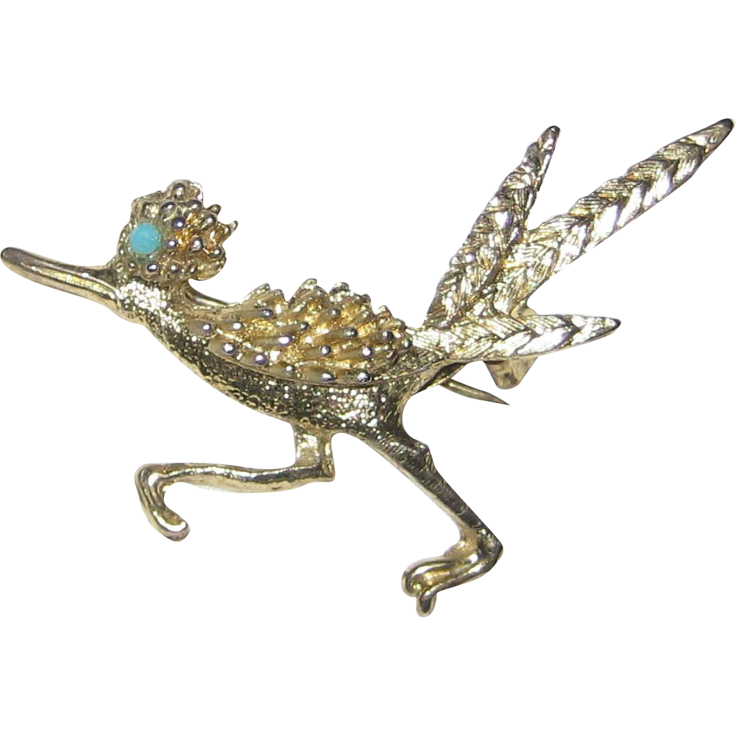 Gold-tone Roadrunner Pin with Turquoise Glass Eye
