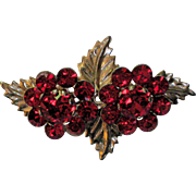 1940's Red Rhinestone Flower Pin