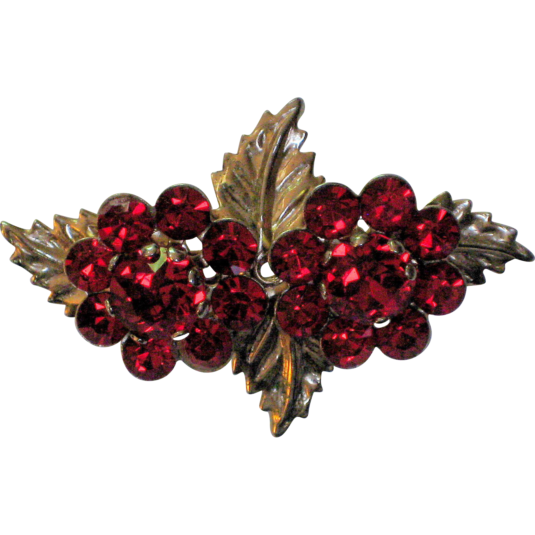1940's Red Rhinestone Flower Pin