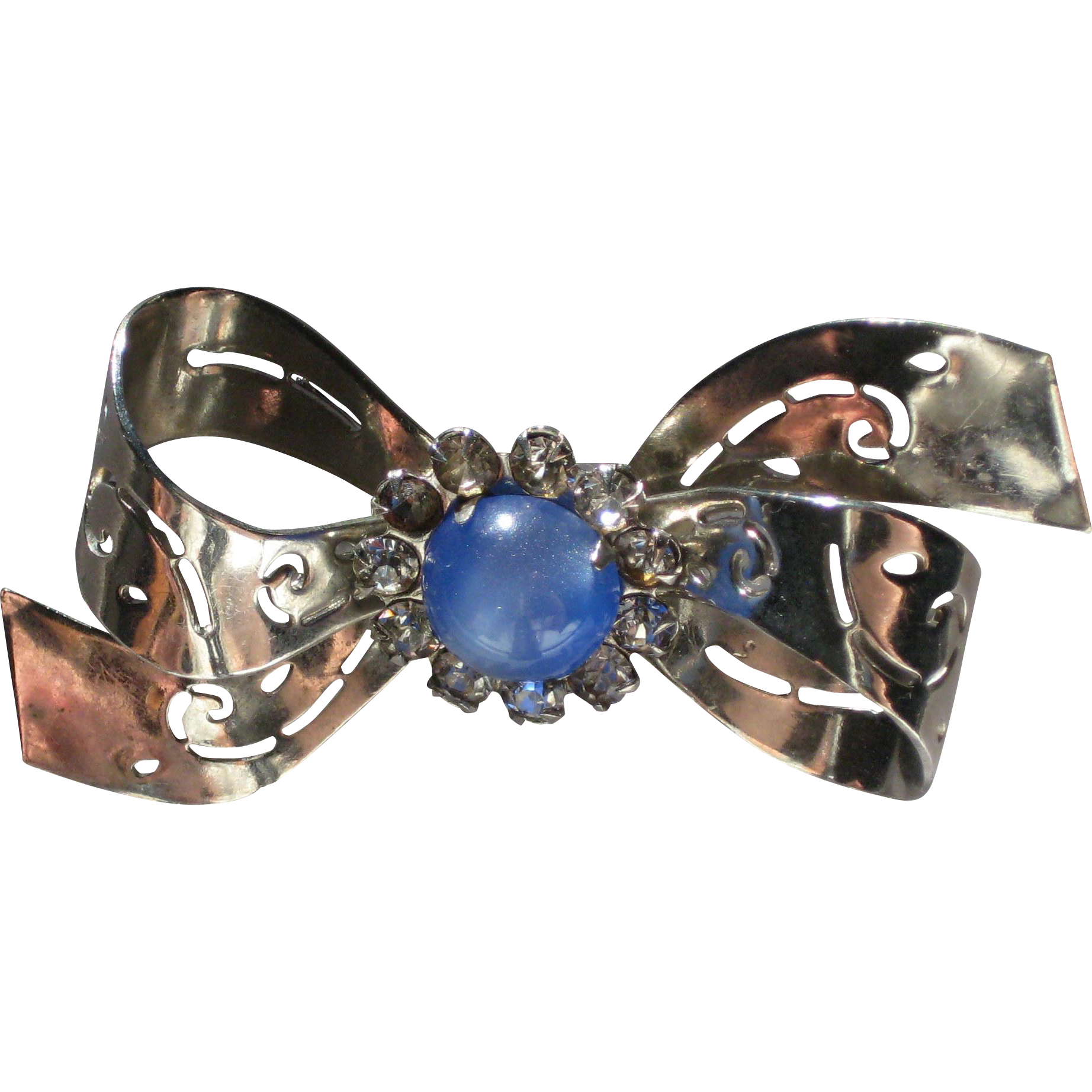 Classic Coro - 1950's Silver-tone Bow Pin with Rhinestone Center