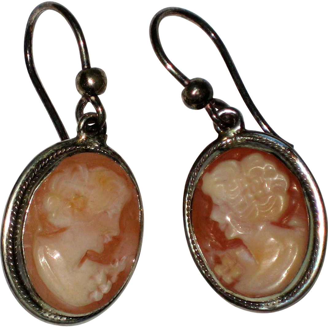 Hand Carved Shell Cameos Set in Sterling Silver - Italy
