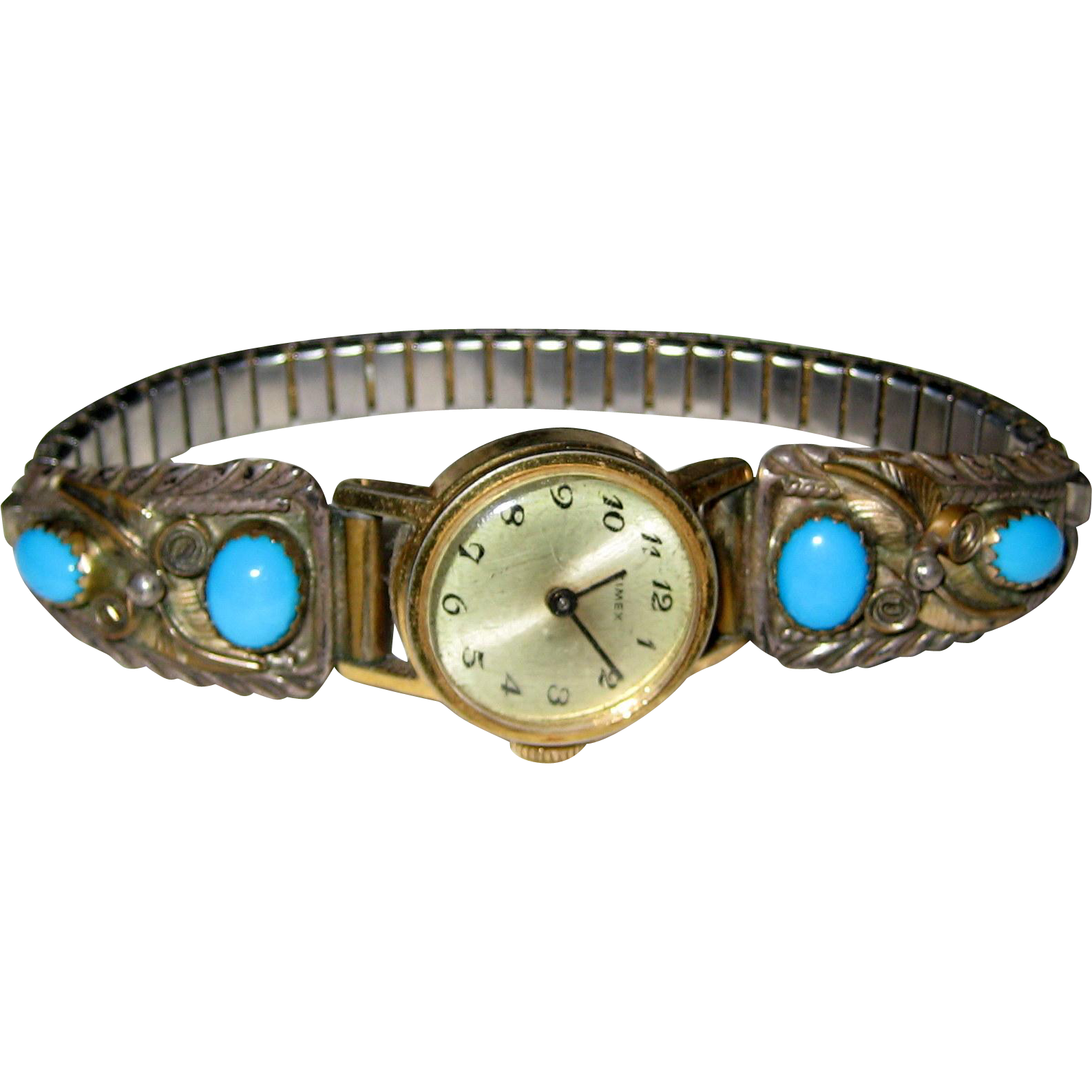 Sterling Silver Native American Style Watch Band with Turquoise Colored Stones
