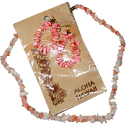 Pink Coral Chip Hawaii Souvenir Necklace and Earrings - 1967