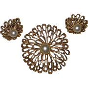 Vintage Trifari Signed Gold-tone Filigree Flower Pin and Clip Earrings with Imitation Pearl Center