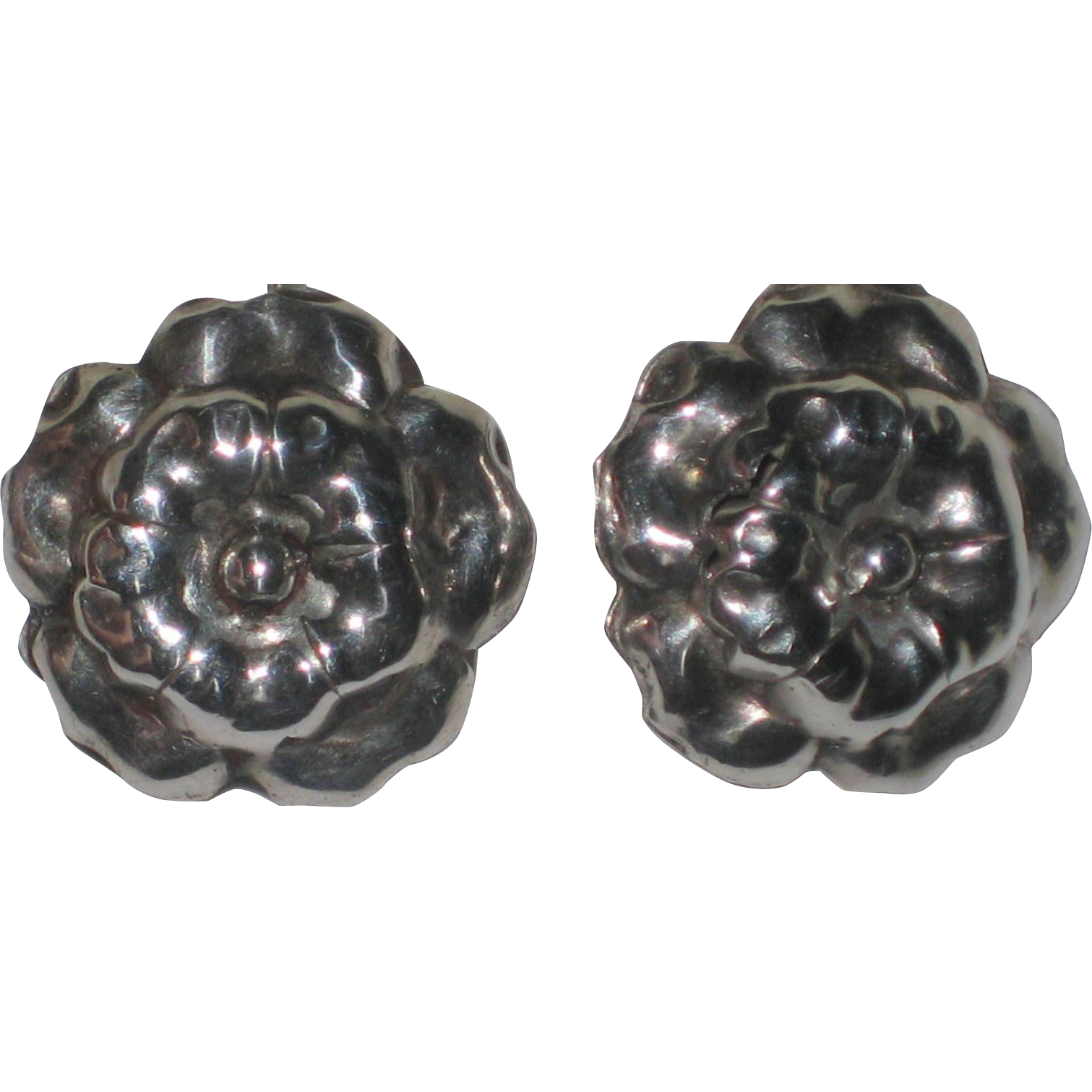 1940's Sterling Silver Screw-back Earrings  - Flower or Puffed Rose