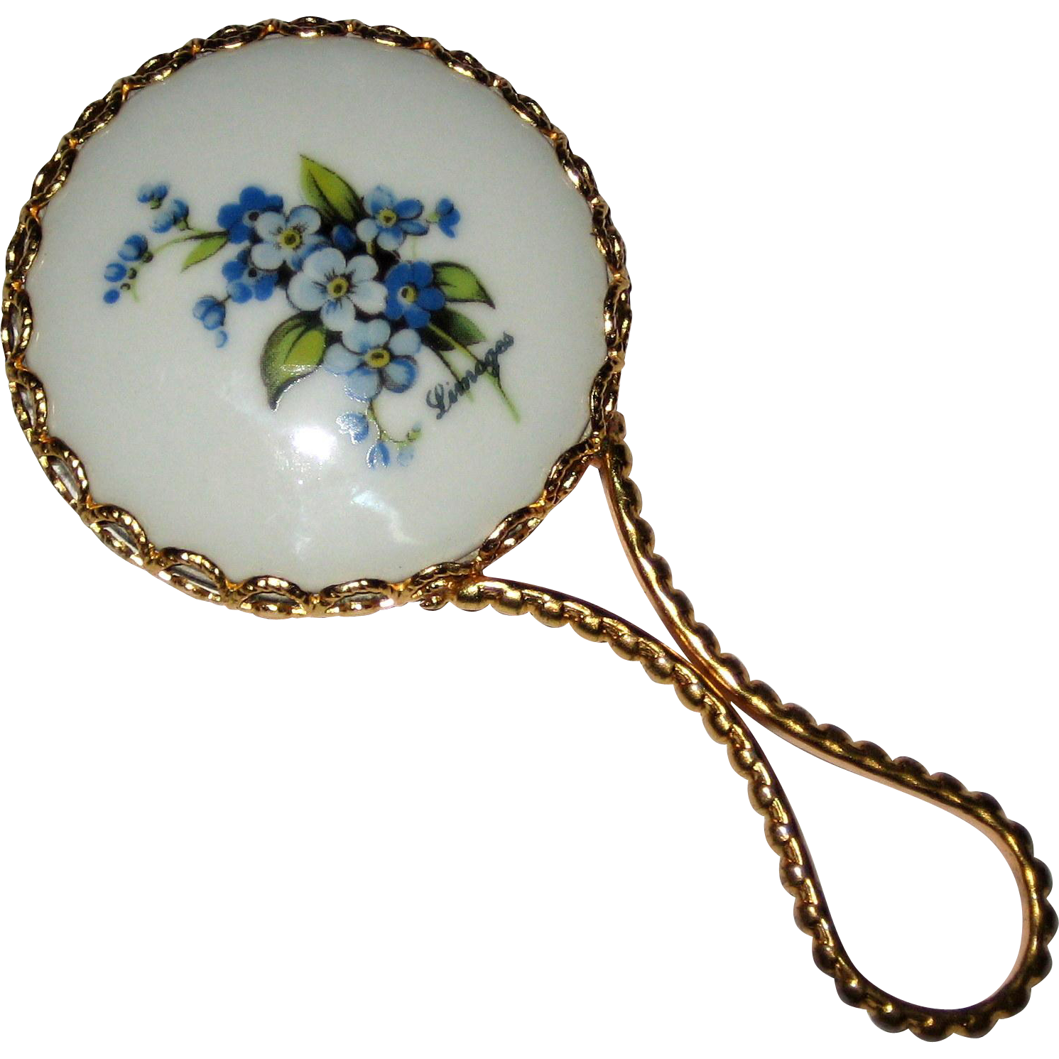 Small Limoges Mirror with Blue Forget-me-not Flowers