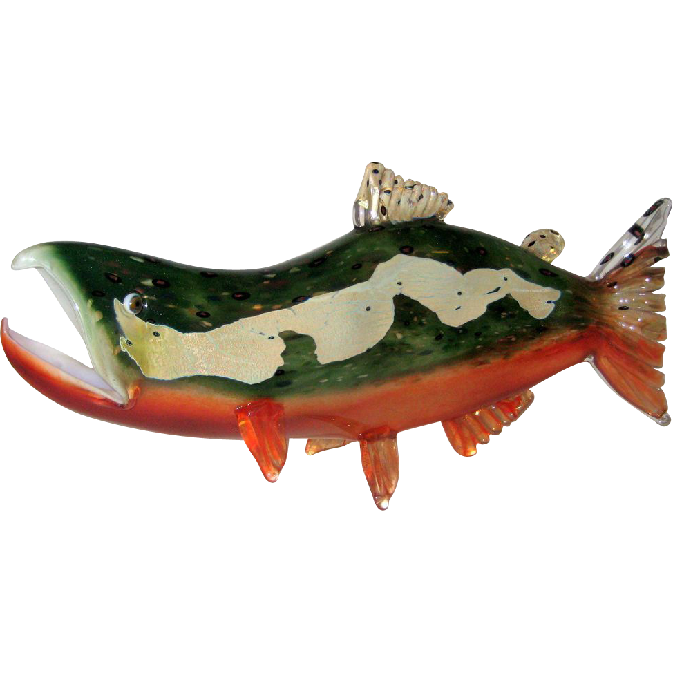 Nichols Art Glass Wild Salmon Glass Sculpture - Signed
