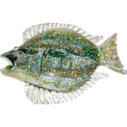 Nichols Art Glass Flounder Sculpture - Signed