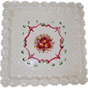 Large Hand Painted Italian Pottery Pedestal Square Cake Plate Stand